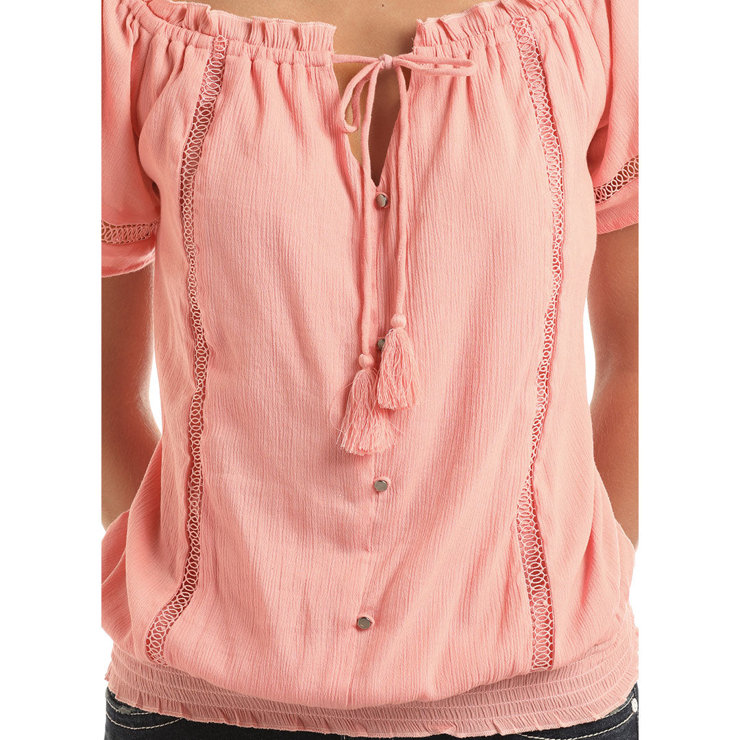 Rock & Roll Cowgirl Coral Cropped Off Shoulder Top