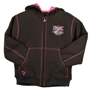 Cowgirl Hardware Riding In Style Canvas Girls Brown Jacket