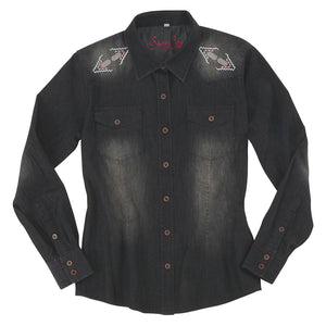 Sherry Cervi Washed Chambery Embroidered Shirt
