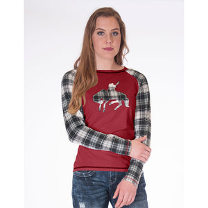 Cowgirl Tuff Plaid Raglan Sleeve Buckin' Horse Patch Red Womens Tee