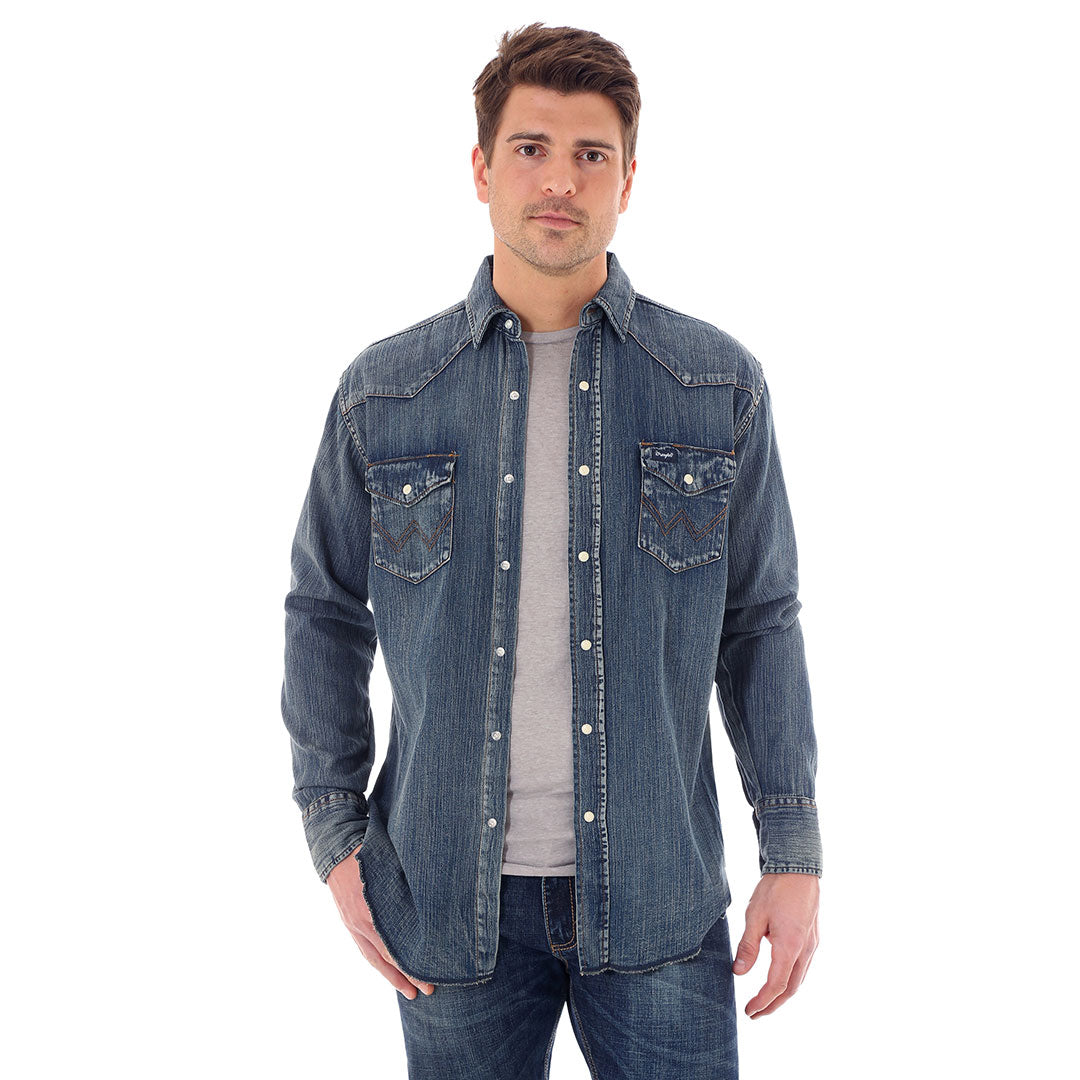 Wrangler Antique Blue Denim Work Shirt