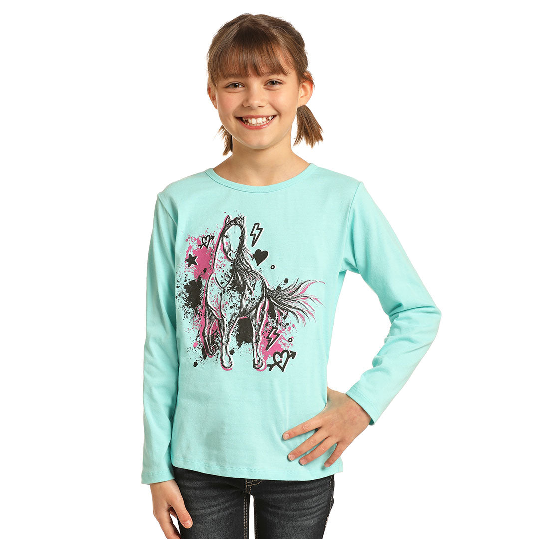 Rock & Roll Cowgirl Horse Graphic Light Blue Girls T-Shirt