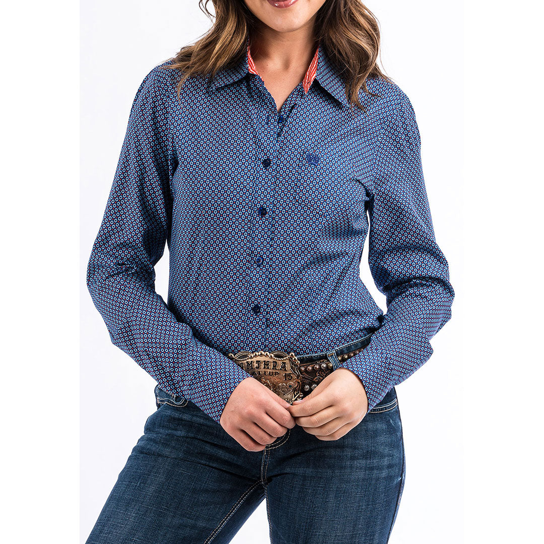 Cinch Blue Geometric Snap Shirt