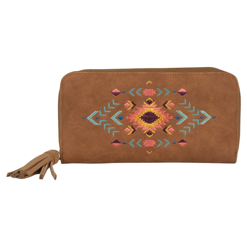 Catchfly Embroidered Aztec Pattern Avery Wallet