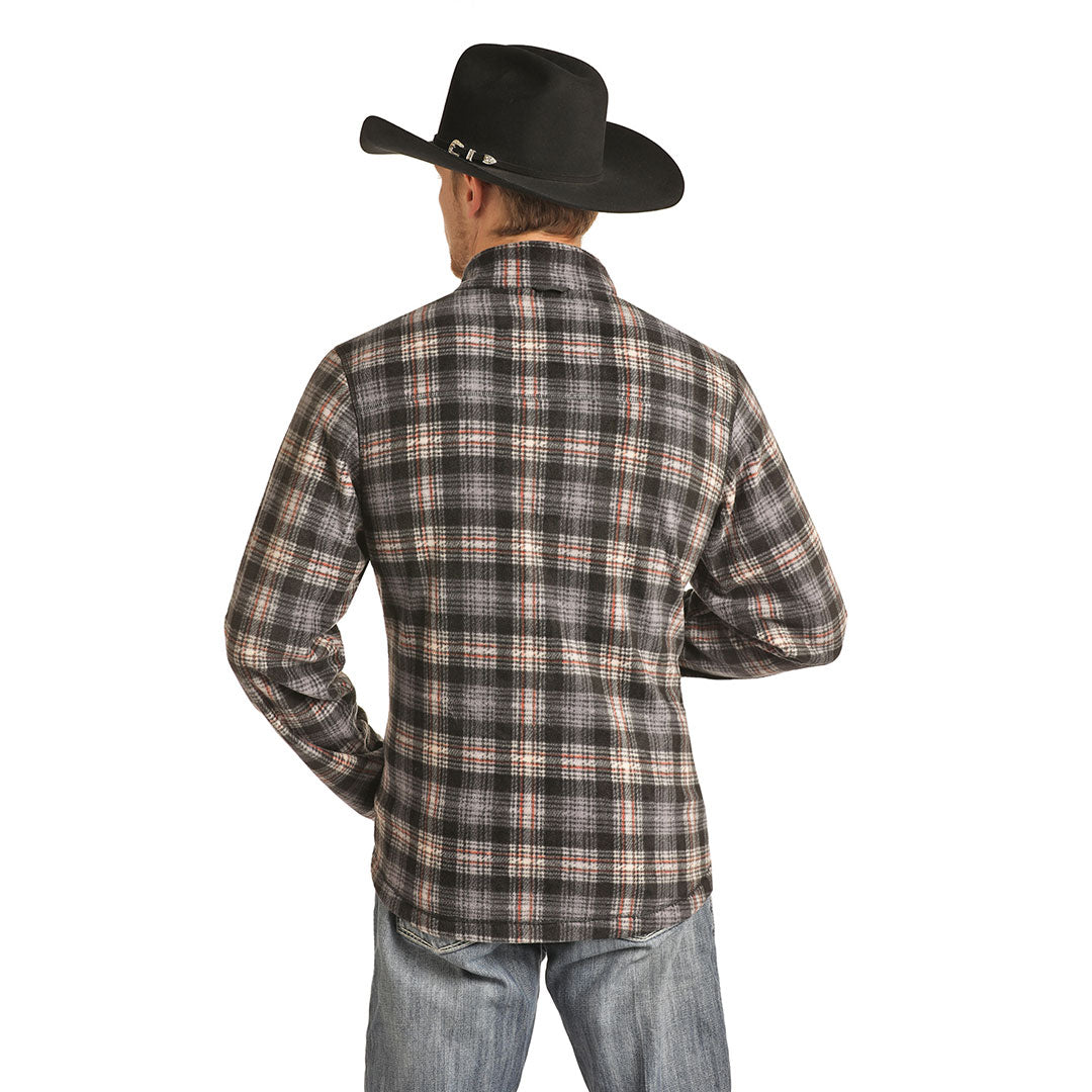 Powder River Outfitters Plaid Fleece Mens Grey Jacket