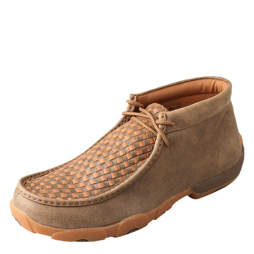 Twisted X Brown/Orange Checkered Mens Driving Moc