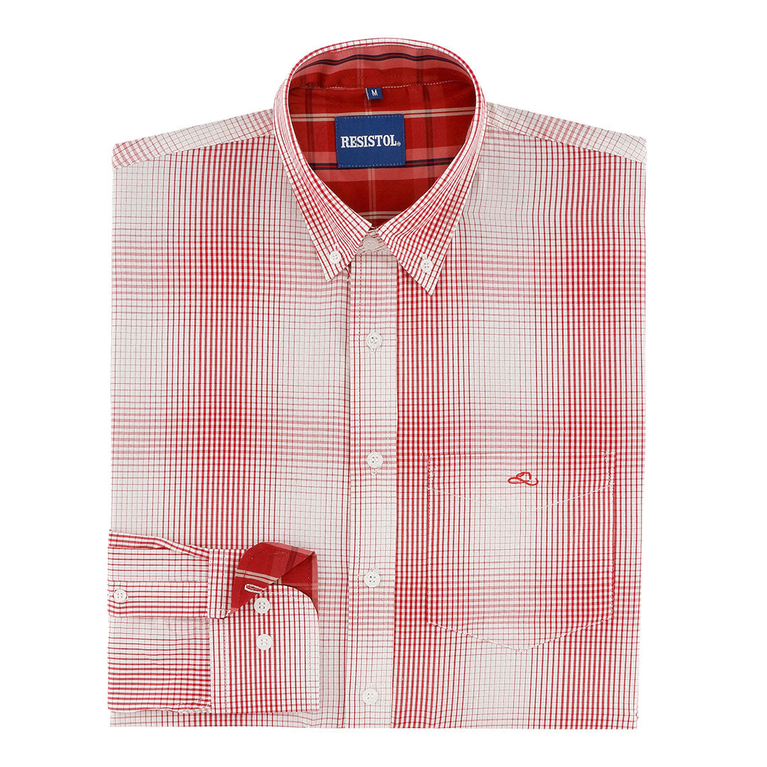 Resistol Bease Ombre Plaid Red Mens Shirt