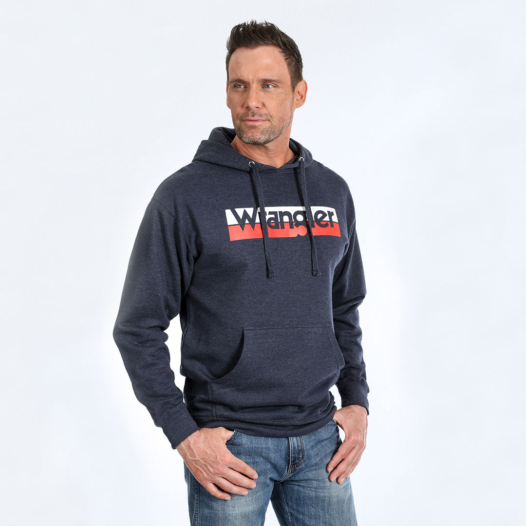 Wrangler Men's Multi Color Logo Navy Hoodie