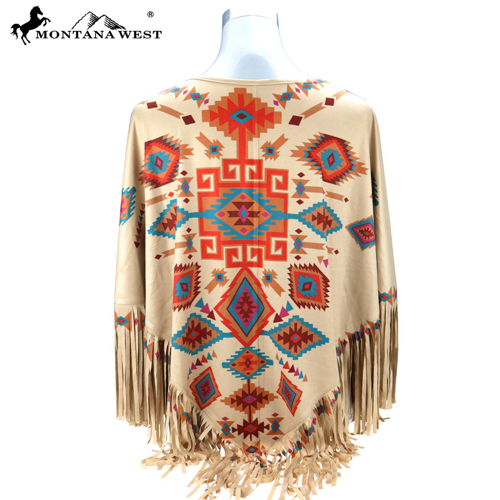 Montana West Aztec Tan Womens Fringe Poncho