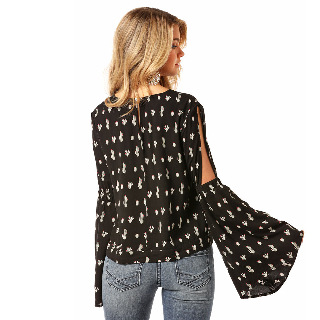 Rock & Roll Cowgirl Cactus Bell Sleeve Top
