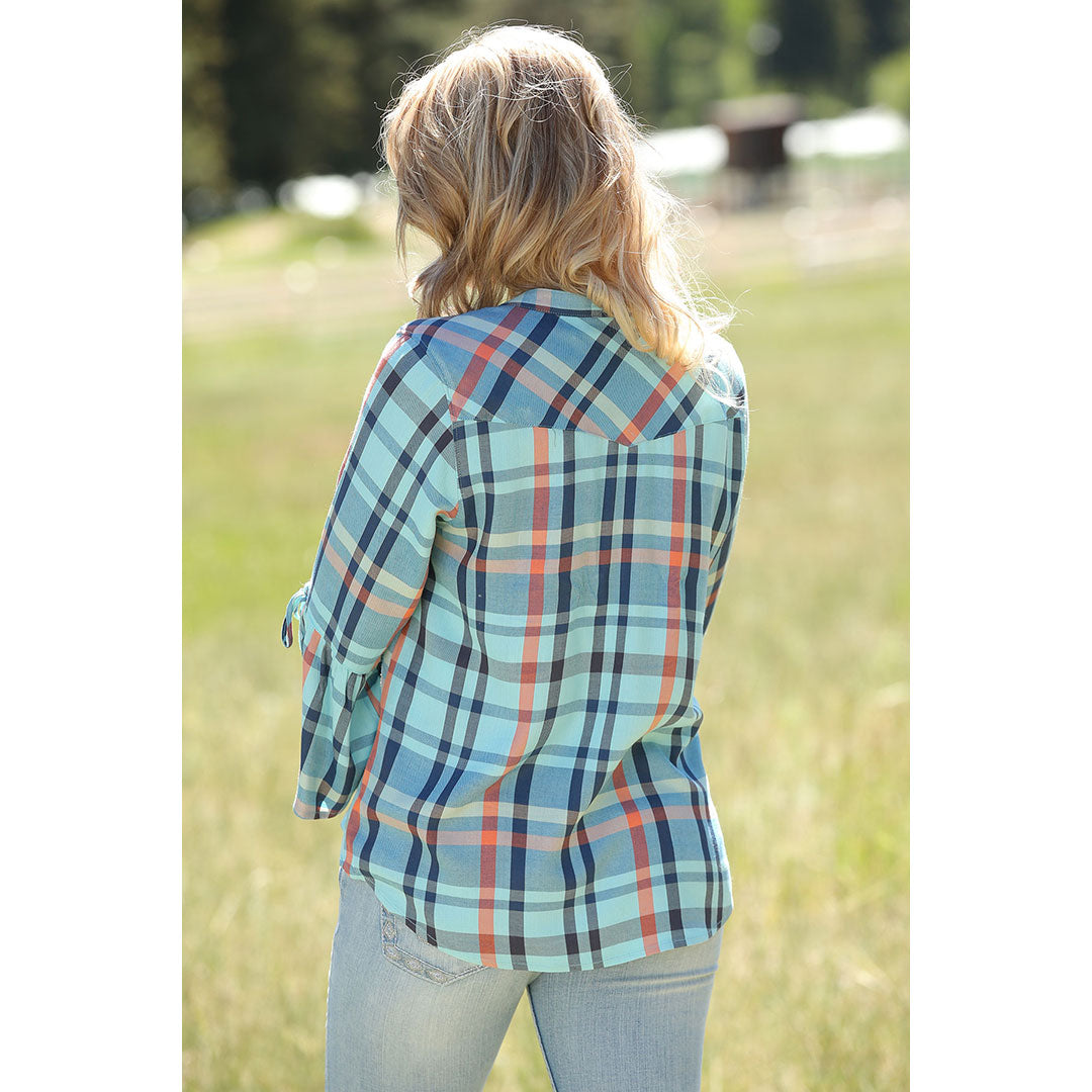 Cruel Denim Blue Plaid 3/4 Sleeve Womens Blouse