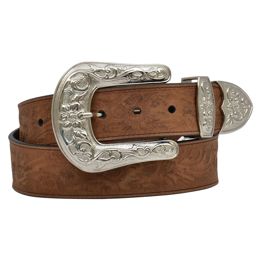 Angel Ranch Floral Embossed Distressed Leather Belt