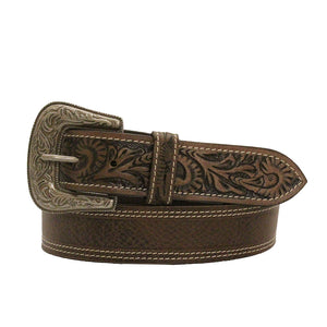 MF Leather Tooled Leather Mens Belt