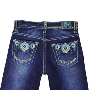 Cowgirl Hardware Aztec Rain Dark Wash Toddler Girls Jean