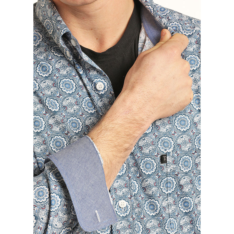 Tuf Cooper Men's Stretch Medallion Print Shirt