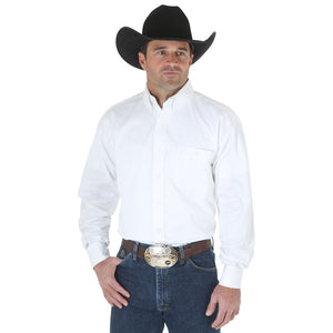 George Strait Solid Twill Men's White Shirt