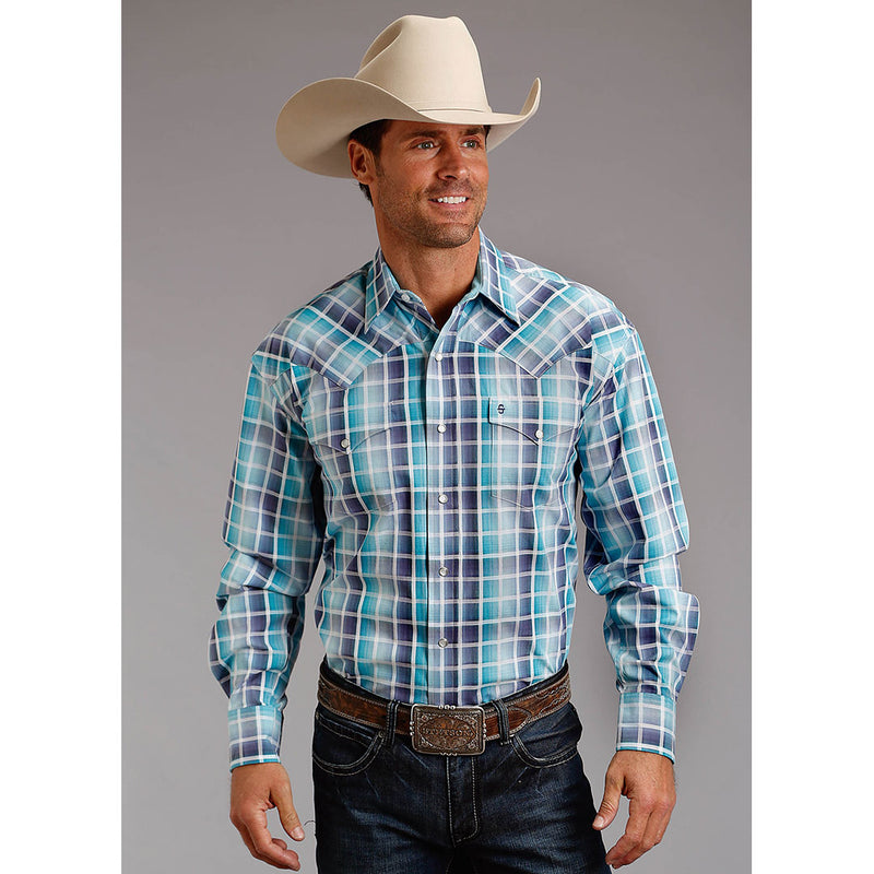 Stetson Blue Check Plaid Shirt