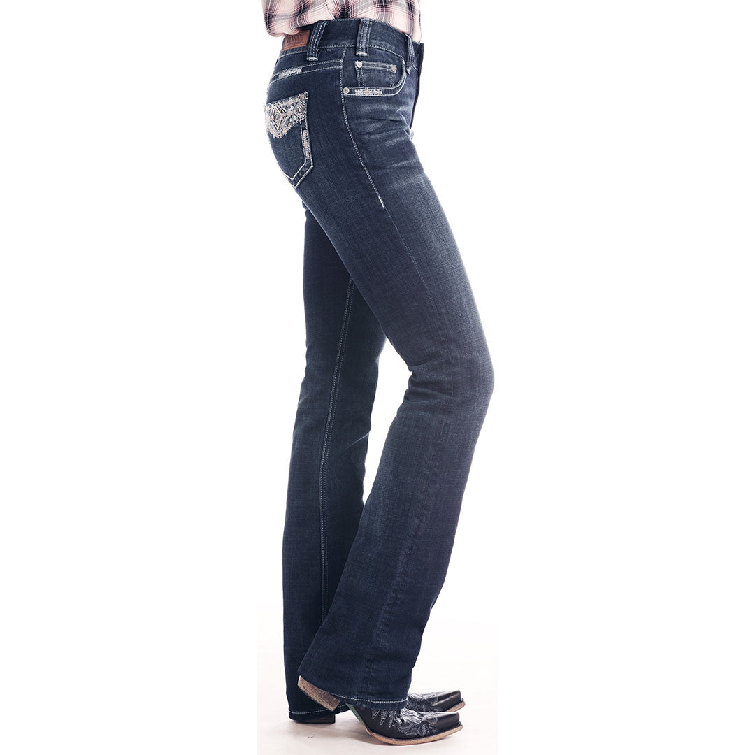 Rock & Roll Denim Embellished Mid Rise Bootcut Womens Jean