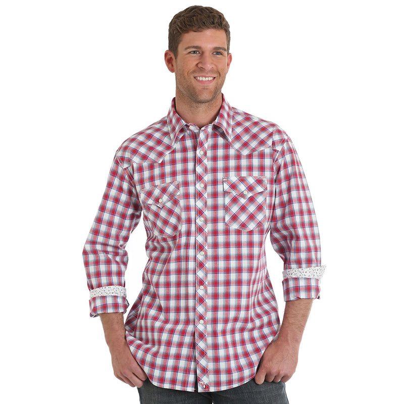 Wrangler® 20X®  Advanced Comfort Burgundy Plaid Shirt