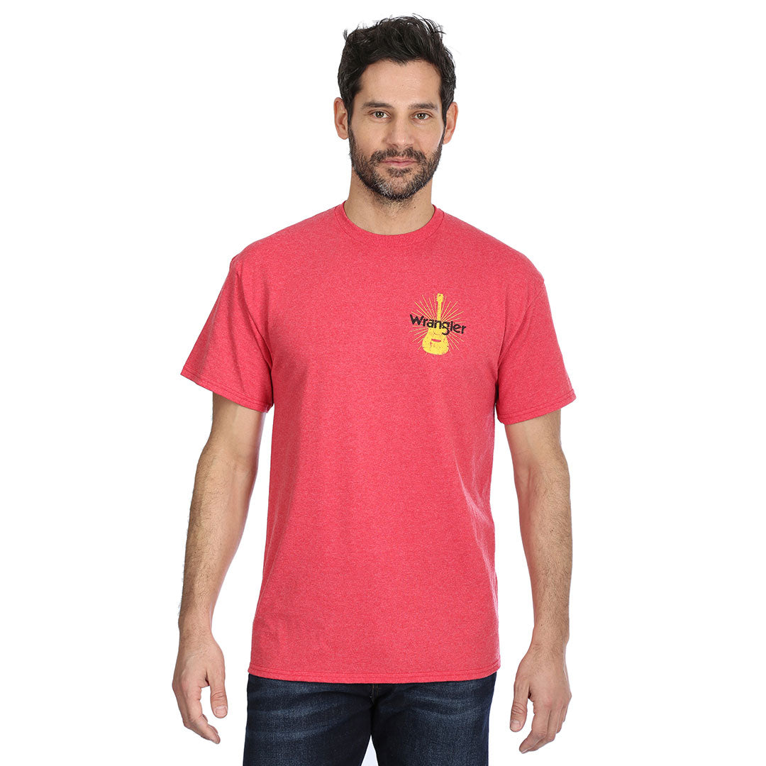 Wrangler Guitar Graphic Heather Red Mens Tee