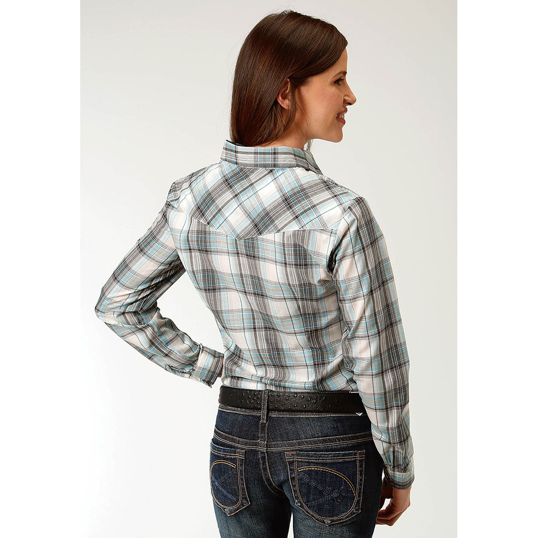 Roper Teal Black & Cream Plaid Shirt