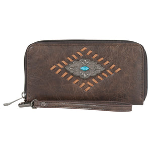 Justin Chocolate Cognac Whipstitch & Concho Womens Wallet