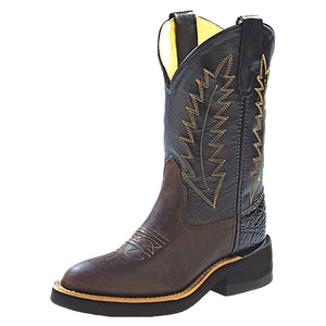 Old West Black & Brown Kids Western Boots