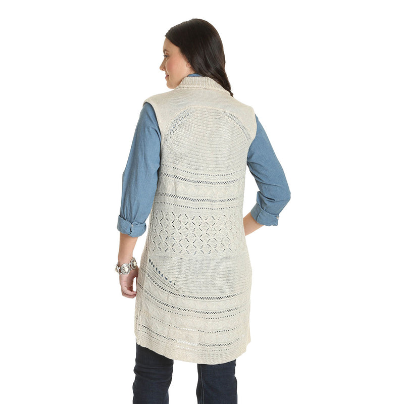 Wrangler Retro® Natural Crochet Womens Sweater Vest