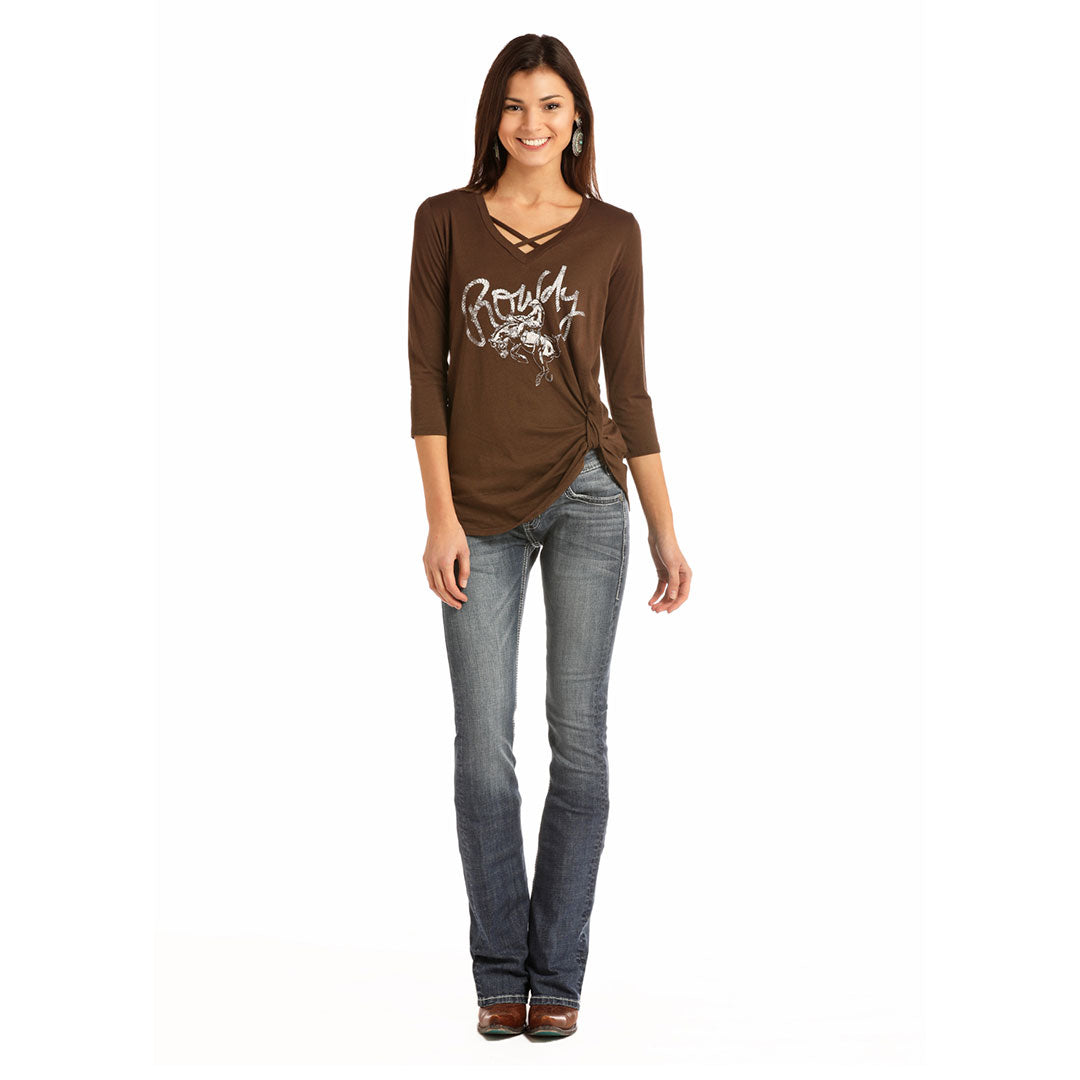 Rock & Roll Cowgirl Rowdy Bronco Womens Brown Tee