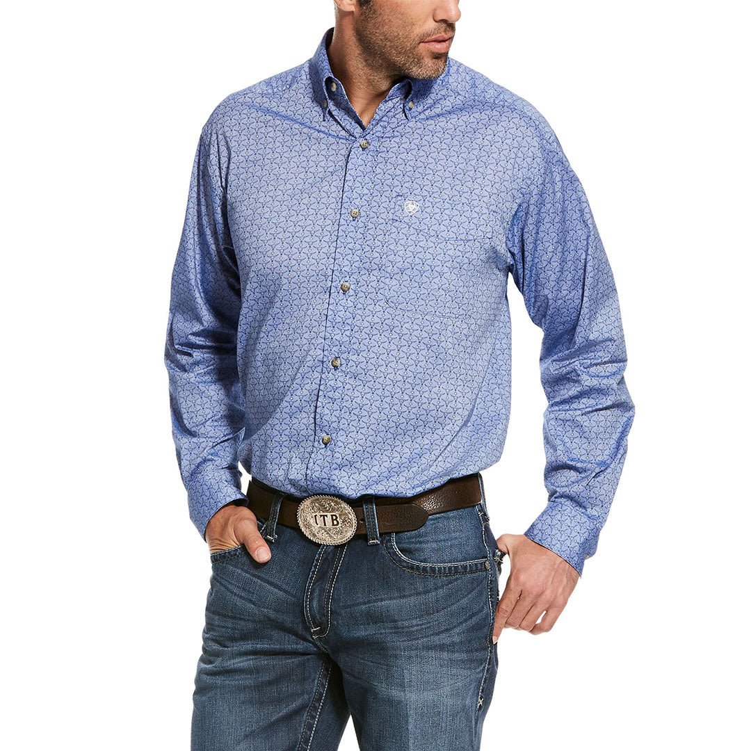 Ariat Teskey Stretch Mini Steerhead Print Mens Blue Shirt