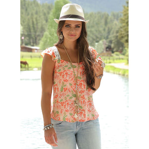 Cruel Denim floral Print Flutter Sleeve Top