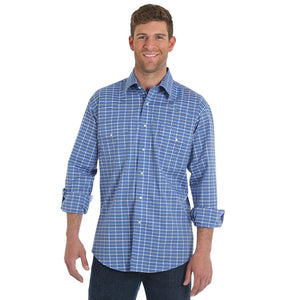 Wrangler® Wrinkle Resist Blue Plaid Shirt