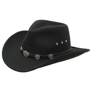 Jack Daniel's Crushable Concho Band Black Wool Hat