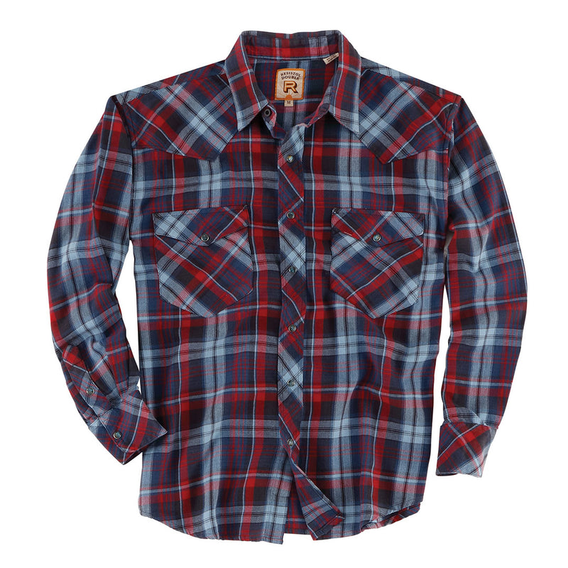 Double R Hubbard Plaid Blue & Red Mens Shirt