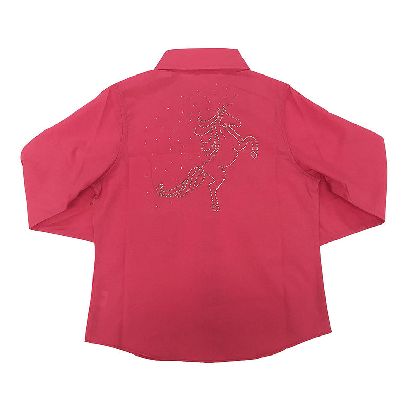 Ely Cattleman Girls Fuchsia Rhinestone Design Shirt