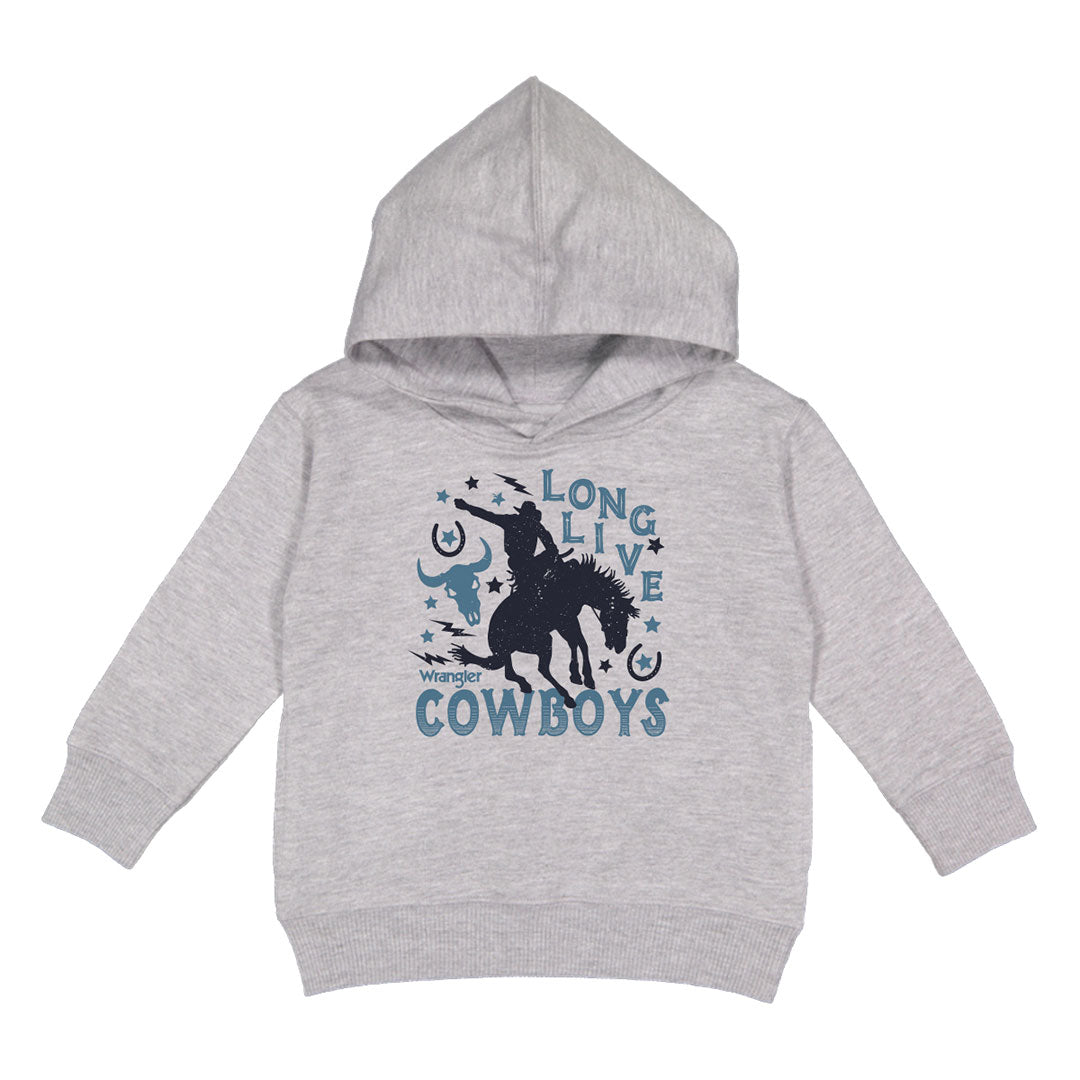 Wrangler Long Live Cowboys Boys Grey Fleece Hoodie