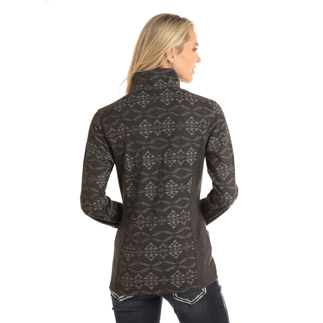 Powder River Outfitters Performance Aztec Grey Womens Pullover
