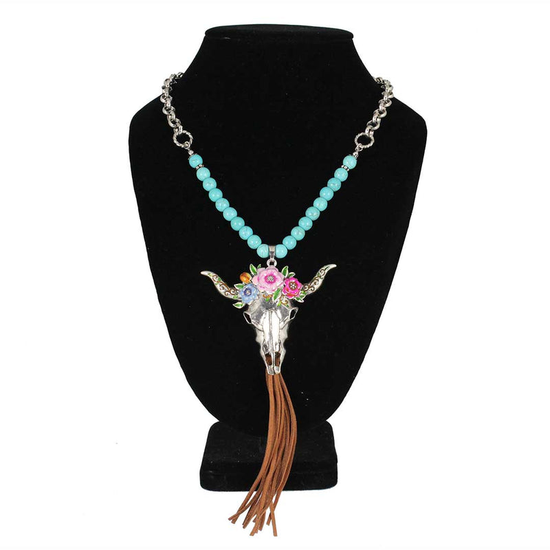 Cindy Smith Steer Skull Floral Necklace