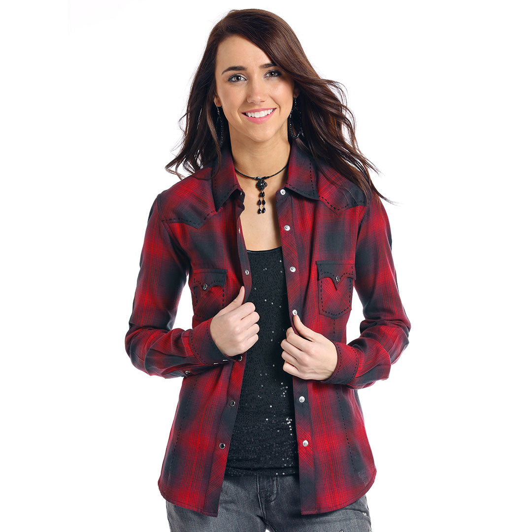 Panhandle Red Label Red & Black Plaid Shirt
