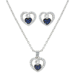 Montana Silversmiths Curlicued Cerulean Heart Jewelry Set