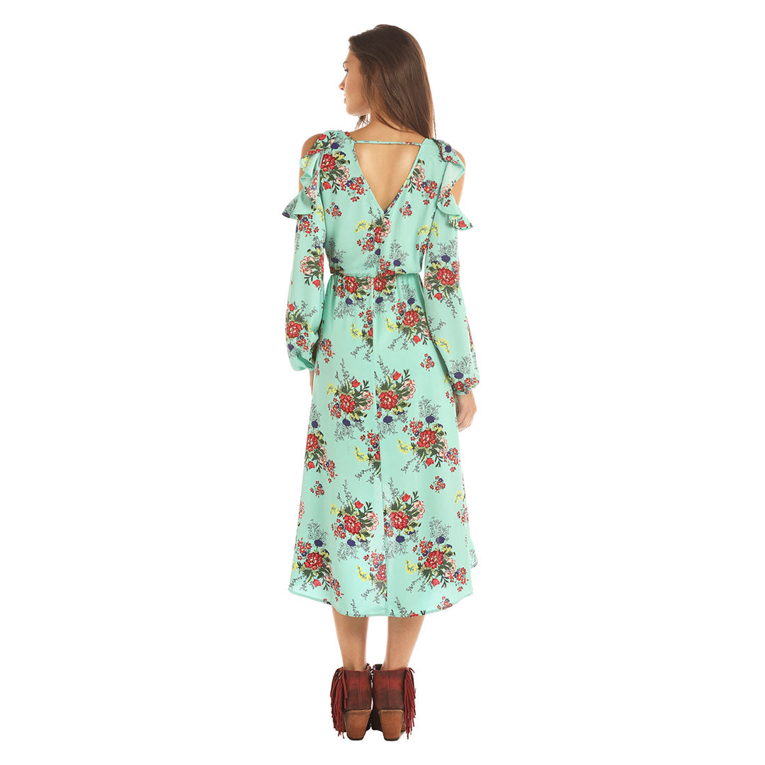 Rock & Roll Cowgirl Mint Floral Wrap Dress