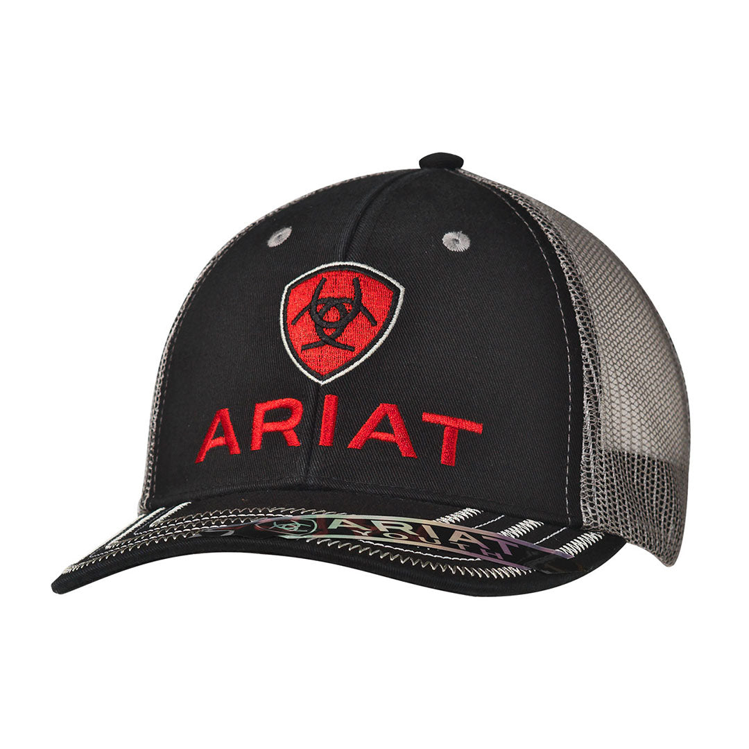 Ariat Black with Red Logo Youth Snap Back Cap