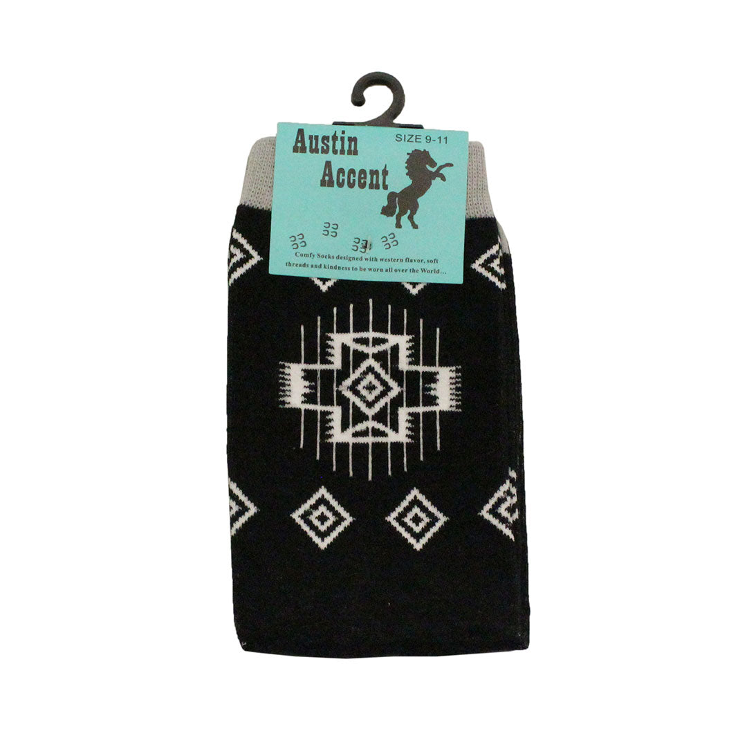 Austin Accent Black & White Aztec Pattern Sock