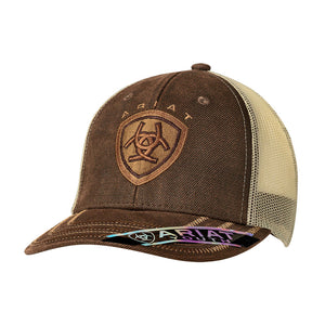 c9fe22112260a4 Ariat Brown Oilskin Front Youth Snap Back Cap | Kid's Caps | Lammle's