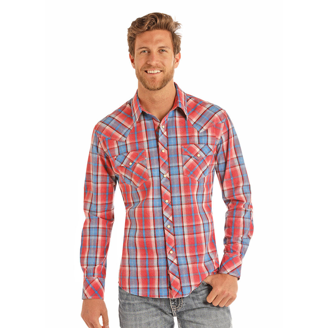 Rock & Roll Cowboy Red & Blue Plaid Shirt
