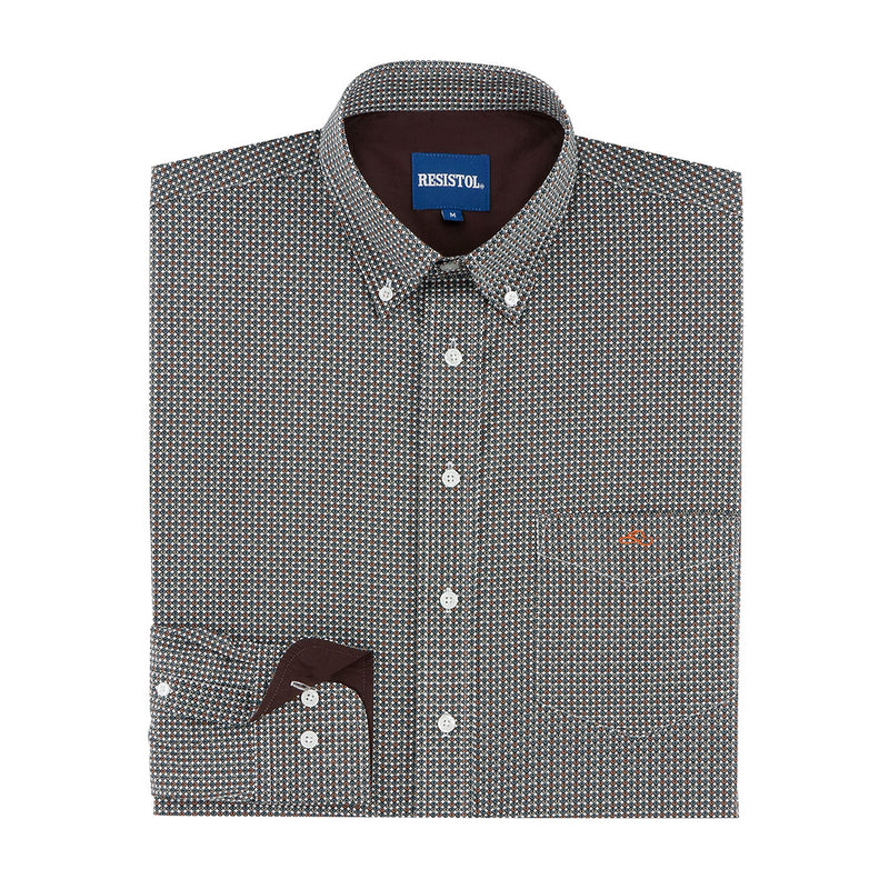 Resistol Bugtussle Geo Print Mens Brown Shirt
