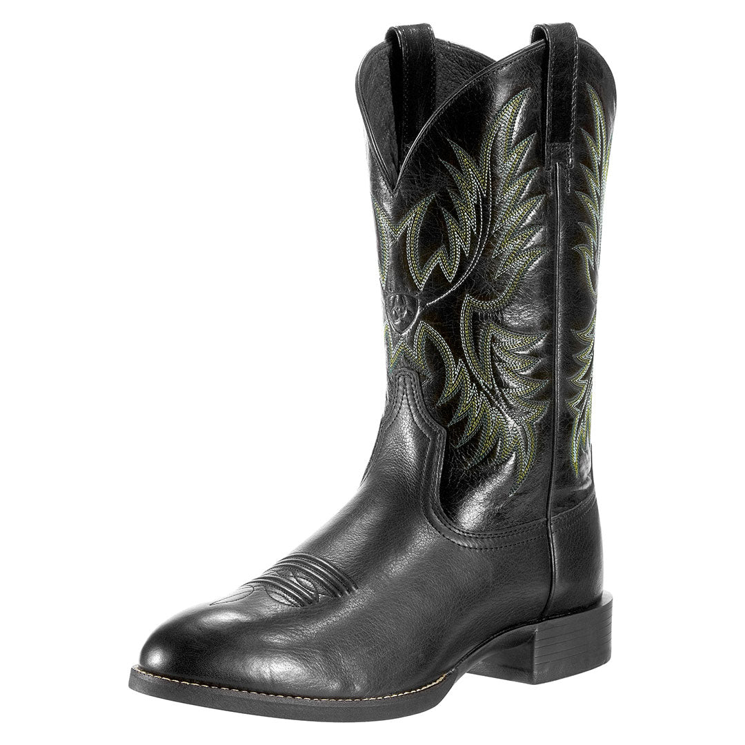 Ariat Heritage Stockman Black Cowboy Boots