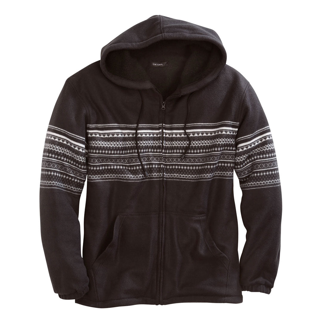 Tin Haul Aztec Polar Fleece Mens Black Jacket