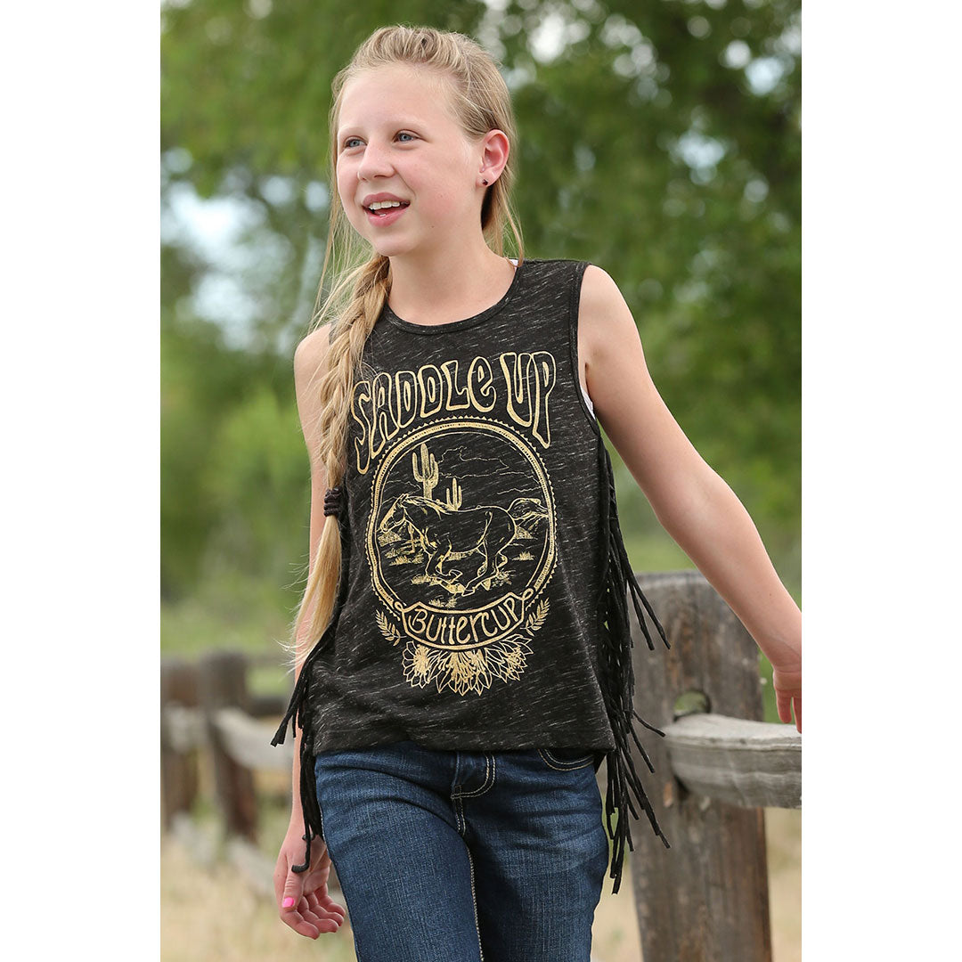 Cruel Denim Girl's Side Fringe Tank