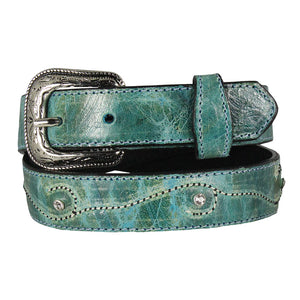 OK Corral Girls Turquoise Leather Belt